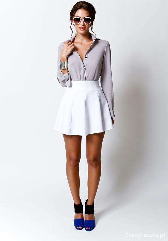 Spódnice rozkloszowana biała spódniczka z zakładkami mohito