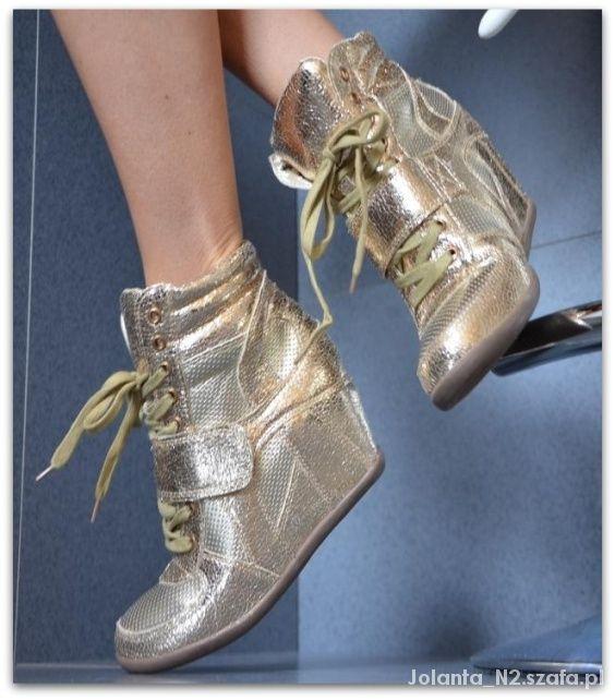 a9d2951096b51 Rozmiar 35 36 Botki sneakersy gold koturny trampki w Botki - Szafa.pl