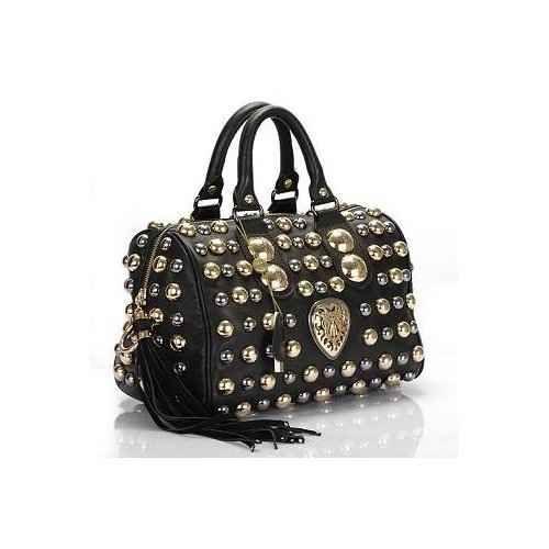 Gucci Babouska Studded Boston Bag skora naturalna