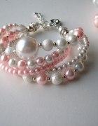bransoletka z dużą perłą biało różowa ślub prezent