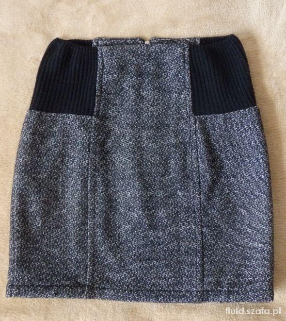 Spódnice gruba spódnica szara wełniana MANGO 38 elegancka
