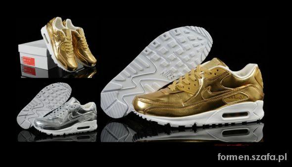 wholesale dealer 24159 44274 Sportowe Męskie Nike Air Max 90 złote srebrne 40 45