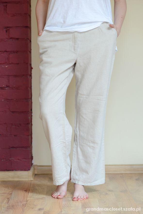 lniane szerokie długie spodnie marcspencer jasne w Spodnie