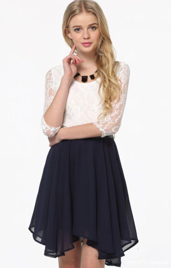 granatowo biała sukienka sheinside