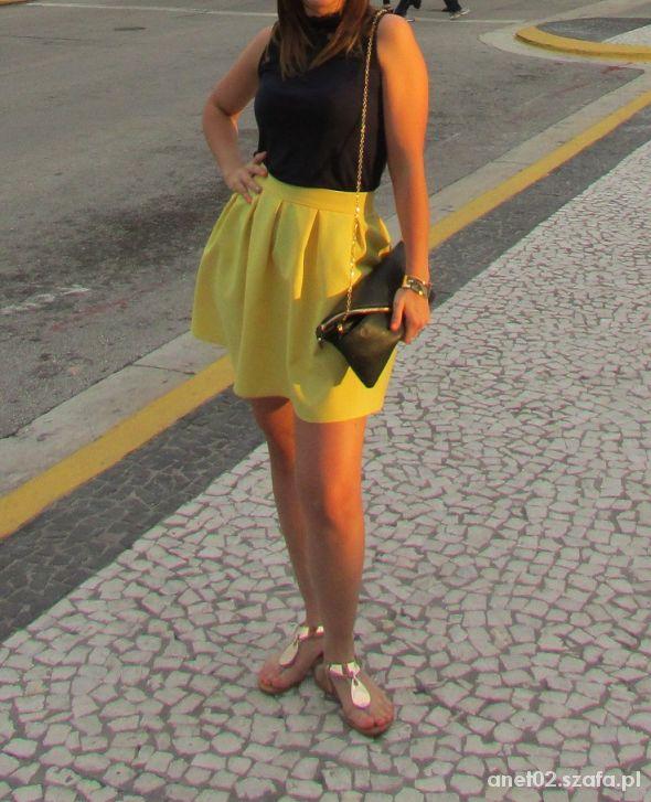 Romantyczne Żółta spódniczka kontrafałdy