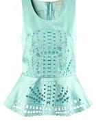 Bluzka z baskinką H&M 2012 ażurkowa zip L XL