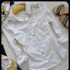 Biała koszula z koronkowymi ramionami Gina Tricot