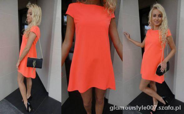 dcb2e8e831 POMARAŃCZOWA ROZKLOSZOWANA SUKIENKA LA MANIA w Suknie i sukienki ...