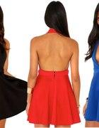 sukienka rozkloszowana gole plecy dekold V allegro
