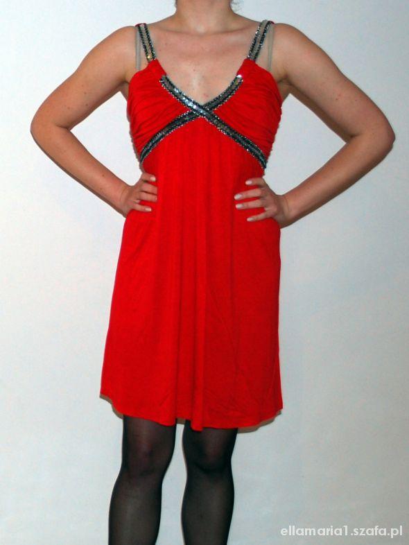 32b9fdecafd2 Suknie i sukienki Czerwona sukienka cyrkonie WESELE impreza lato S M