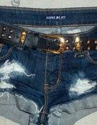 Spodenki szorty jeans ćwieki przetarcia