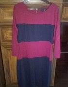 Reserved bordowo granatowa sukienka