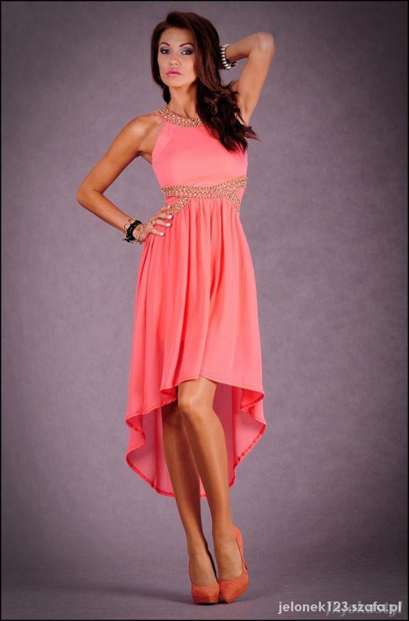 7c99d979ca Koralowa asymetryczna sukienka szyfon L 40 w Suknie i sukienki ...