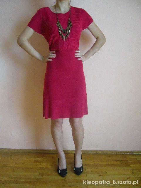 Suknie i sukienki Śliczna czerwona dzianinowa sukienka 42 44