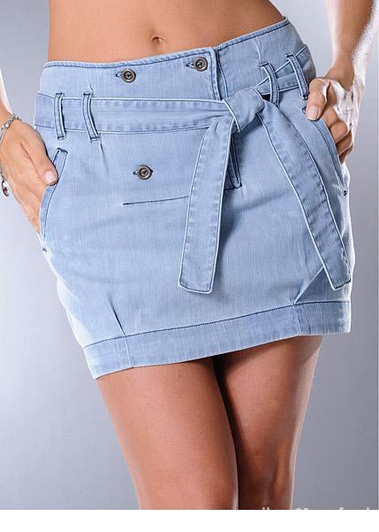 Spódnice modna spódniczka jeansowa z paskiem