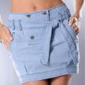 modna spódniczka jeansowa z paskiem