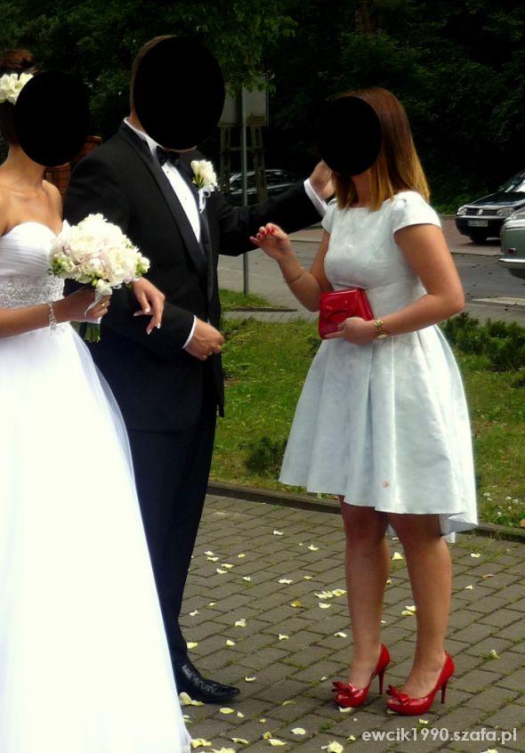 Suknie i sukienki Błękitna wesle asymetryczna kieszenie 36