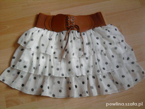 Spódnice spódniczka mini z falbankami w groszki