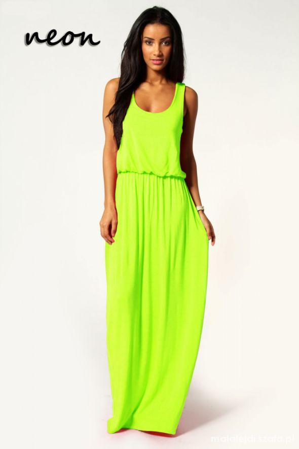 NOWA neonowa limonkowa sukienka maxi cudo w Suknie i