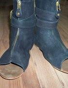 buty sandałki ZARA czarne skóra rozmiar 36...