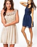 Sukienka ASOS koronkowy top mgiełka szyfon