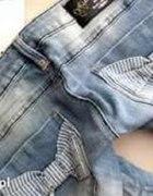 spodnie jeansy skinny rurki blue rags kokardki...
