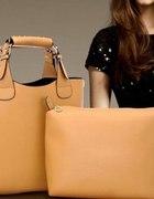 Torebka torba zara zarka shopper sztywna beżowa...