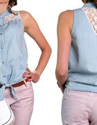 jeansowa koszula z koronką