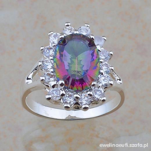 Srebrny pierścionek Mistyczny Topaz cyrkonie 925