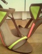 sandały szpilki bershka brązowe neonowe 38