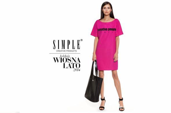 Simple 2014 sukienka napis różowa