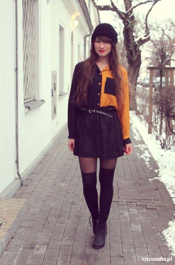 Dwukolorowa koszula czarno pomarańczowa w Koszule Szafa.pl  uhyVh