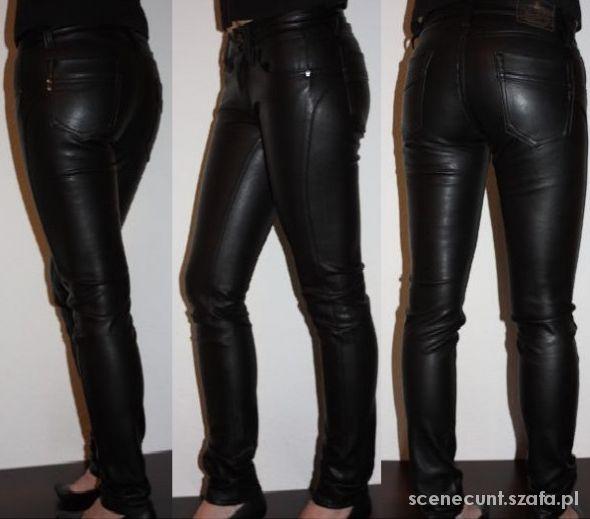 nowe rurki skóra przeszycia spodnie tregginsy mat