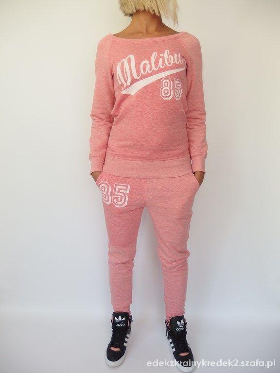 Sportowe różowy melanż dres kompletny bluza spodnie adidas