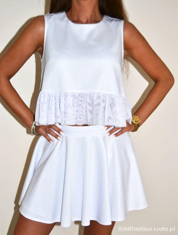 Komplety Biały komplet top spódnica look siwiec falbanka