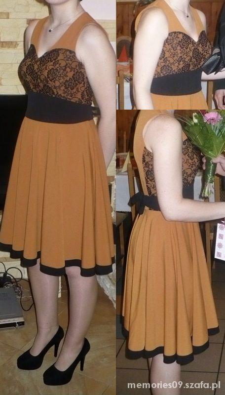 Eleganckie ceglasta sukienka z koronką