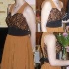 ceglasta sukienka z koronką