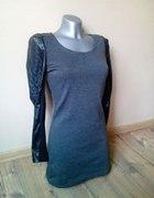 Nowa sukienka skórzane rękawy jesień zima SML