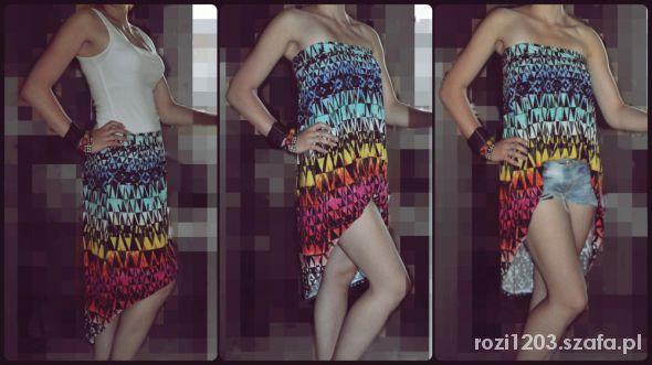 Na specjalne okazje Kolorowa ethic asymetryczna spódnica na 3 sposoby