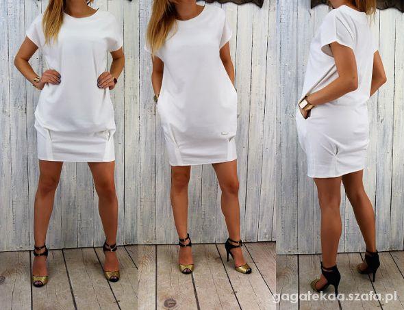 a7b7742a4e Suknie i sukienki Dresowa sukienka tunika sportowa elegancka bombka