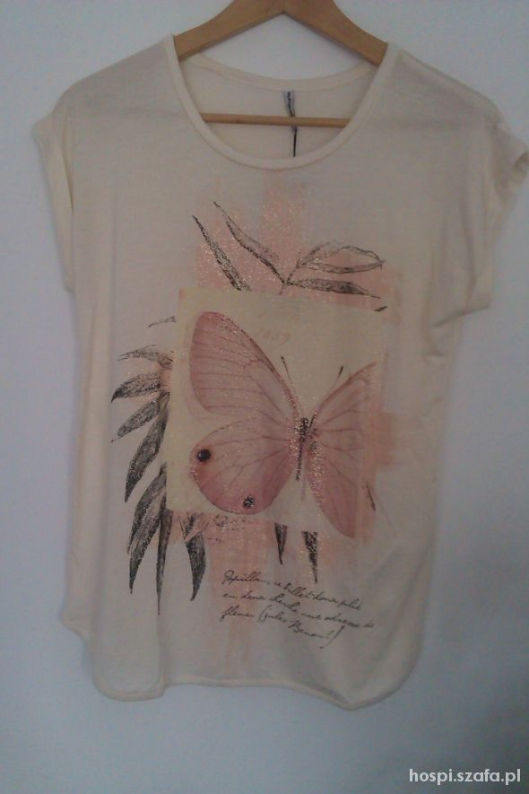 Beżowa bluzka Stradi z motylem...