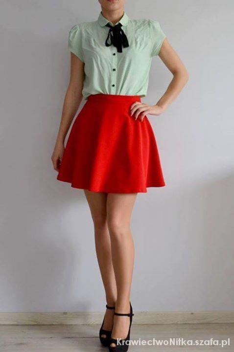 Spódnice Czerwona spódniczka z półkola
