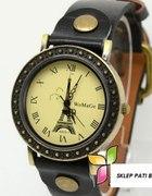 zegarek z wieżą Eiffla czarny retro