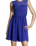Kobaltowa sukienka z koronka H&M