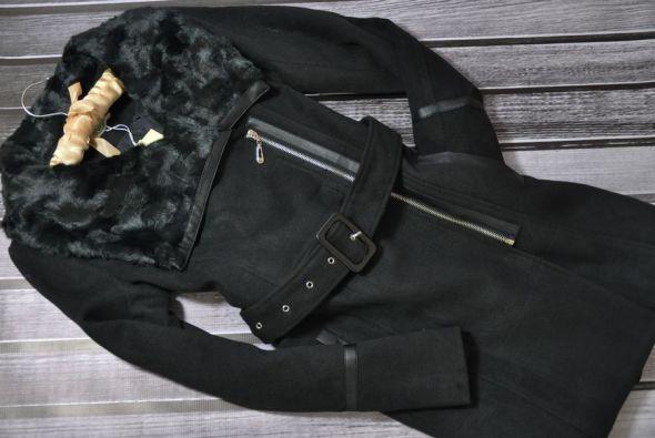 Odzież wierzchnia KELYNA FRANCE Czarny płaszcz futerko skóra S do XL