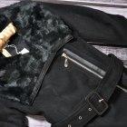 KELYNA FRANCE Czarny płaszcz futerko skóra S do XL