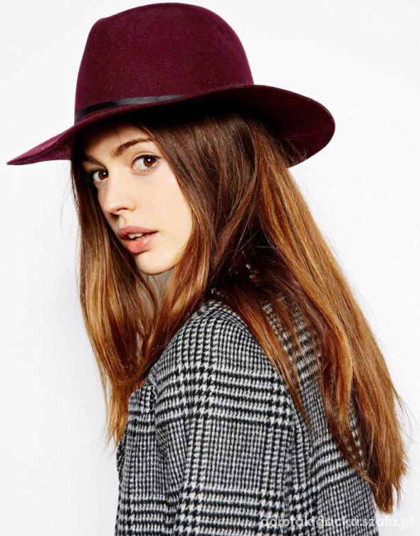 Dodatki Wełniany kapelusz bordo burgund