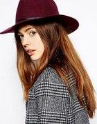 Wełniany kapelusz bordo burgund...