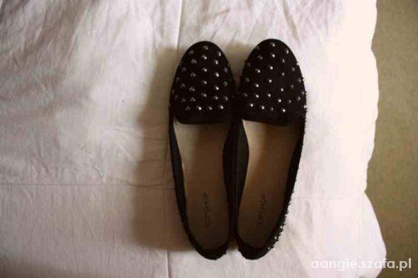 Obuwie lordsy topshop buty czarne ćwieki