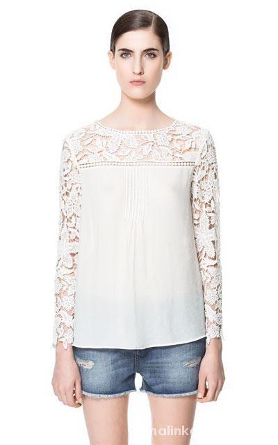 Ubrania Bluzka koronkowa Zara haftowana 40 L